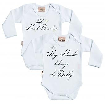 Spoilt Rotten Little Heart Breaker & Heart Belongs To Daddy Babygrow Set