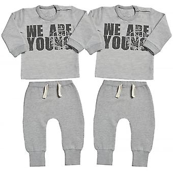 Spoilt Rotten We Are Young Sweatshirt & Jersey Trousers Baby Twins Outfit Set
