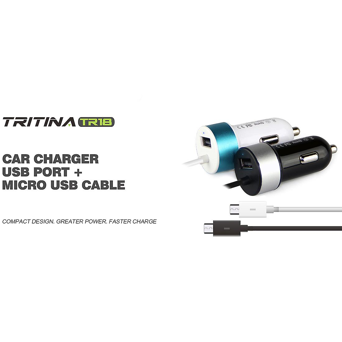 Tritina USB Car Charger Anti Fire Shell USB Port + Charge Line Input 12V/24V Output 5V 2.4A for iPhone, Samsung, Other Mobile Phone Tablet PC, Long time Warranty