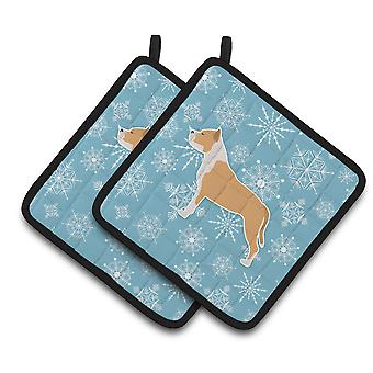 Winter Snowflake Staffordshire Bull Terrier Pair of Pot Holders