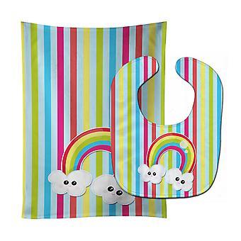 Carolines Treasures  BB7151STBU Weather Rainbow Face Baby Bib & Burp Cloth