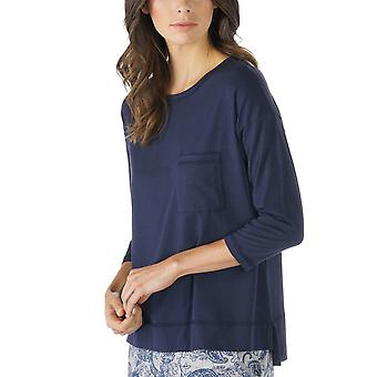 メイ 16806 408 女子 Night2Day 夜青いソリッド カラー パジャマ 3/4 袖パジャマ トップ