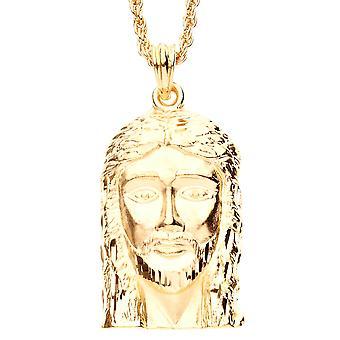 アイスを見せびらかすカット ダイヤモンド ペンダント - ゴールド イエスの顔