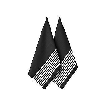 Ladelle sett med 2 slakter Stripe Series II svart te håndklær
