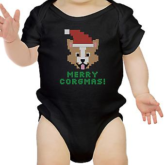 Merry Corgmas Corgi bambino nero Body carino natale bambino Idea regalo