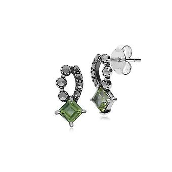 Art Nouveau Style Square Peridot & Marcasite Stud Earrings in 925 Sterling Silver 214E707407925
