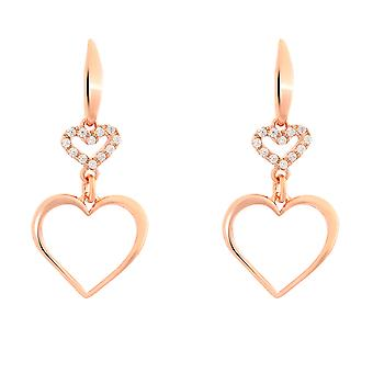 Orphelia plata 925 pendientes oro rosa corazón zirconio - ZO-7383