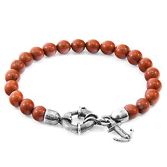 Anchor & Crew Red Jasper Port Silver And Stone Bracelet
