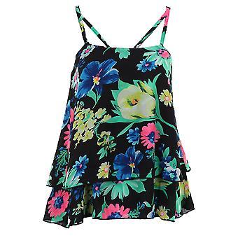Ladies Frill Chiffon kort beskjære lagdelte Strappy Floral Print kvinner Vest Cami topp