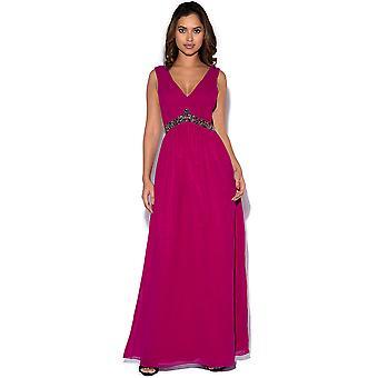 Little Mistress Cherry Embellished Waist Maxi Dress