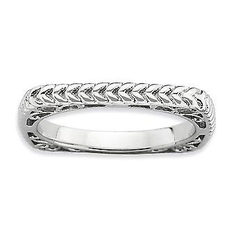 2.25mm 925 Sterling hopea rhodium kullattu pinottava ilmaisuja kiillotettu Rhodium levy Square Ring korut lahjat Wom