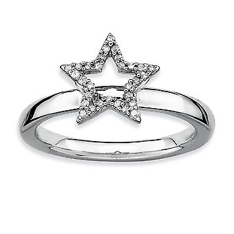 925 Sterling Silver Polished Prong set Rhodium plated Stackable Expressions Star Diamond Ring Jewelry Gifts for Women -