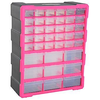 DURHAND 39 Drawers Parts Organiser Wall Mount Tools Storage Cabinet Small Nuts Bolts Garage Clear