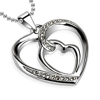 Paved Loop of Hearts Hollow Pendant, Stainless Steel Jewellery with Chain
