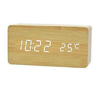 Digital LED Alarm Clock in wood design-wood/white