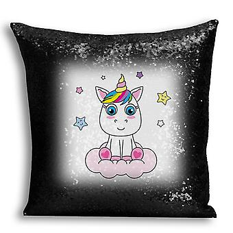 i-Tronixs - Unicorn Printed Design Black Sequin Cushion / Pillow Cover with Inserted Pillow for Home Decor - 8