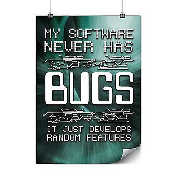 Cartaz fosco ou brilhante com Bugs programador | Wellcoda | * y3542