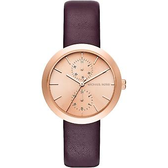 Michael Kors Thin Garner Ladies Wrist Watch Gold Dial Burgundy Strap MK2575