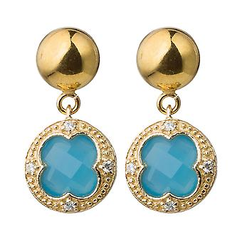 Boucles d'oreilles Gemshine pour femmes pierres précieuses chalcédonie bleue. 925 Argent ou plaqué or