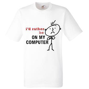 Valkoinen miesten olisin mieluummin minun tietokone t-paita