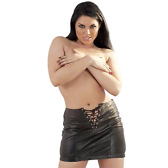Honour Women's Sexy Mini Skirt in Leather Black Luscious Lace Design