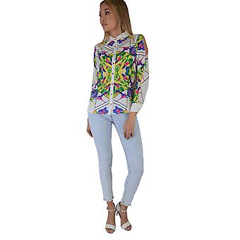 LMS White Cold Shoulder Silk Shirt With Colourful Geometric Print