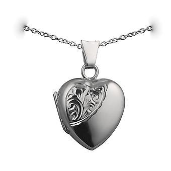 Sølv 17x16mm halv hånd graveret hjerteformet medaljon med en rolo kæde 24 inches