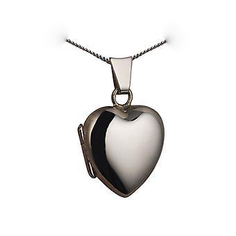 9kt hvidguld 17x16mm plain hjerte formet medaljon med en bremse kæde 20 inches