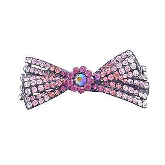 Rosa arco pelo Barrette Clip fucsia rosa diamantes rosa y claro Lite
