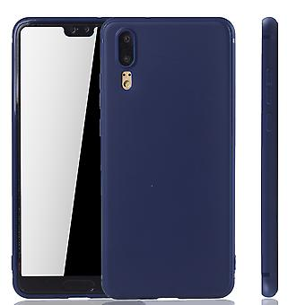 Huawei P20 mobile logement Schutzcase dos sac pochette Etui pouch pare-chocs Blau
