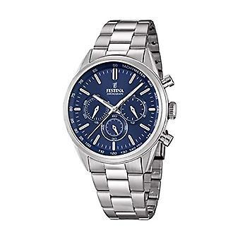 Festina, 2/F16820, גברים של שעון, קוורץ, עם הכרונוגרף, רצועת פלדה INOX, צבע התצוגה: כחול