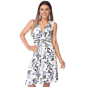 KRISP Womens floral mini robe V cou noeud devant plissé froncé sans manches