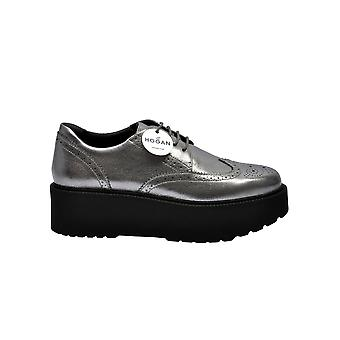 Hogan Hxw3550ab00mecb205 Women's Grey Leather Lace-up Shoes