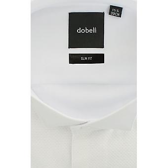 Dobell Mens vit Marcella kvällen klänning skjorta Slim Fit Wing krage Stud knapp fram