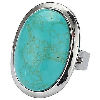 Turquoise Oval Adjustable Fashion Ring