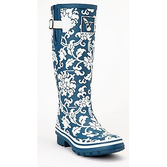 Evercreatures Ladies Delft Wellies Blue With Floral Pattern - Various Sizes
