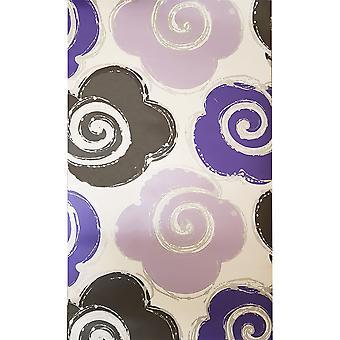 Lila Silber Floral Wallpaper Metallic Retro Wirbel Blüten weiß Muriva Izy