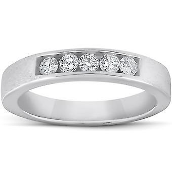 1/3ct Mens 14K White Gold Diamond Wedding Ring Band