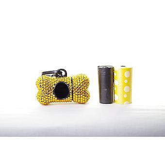 Gouden Crystal Strass bot gevormd afval zak Dispenser
