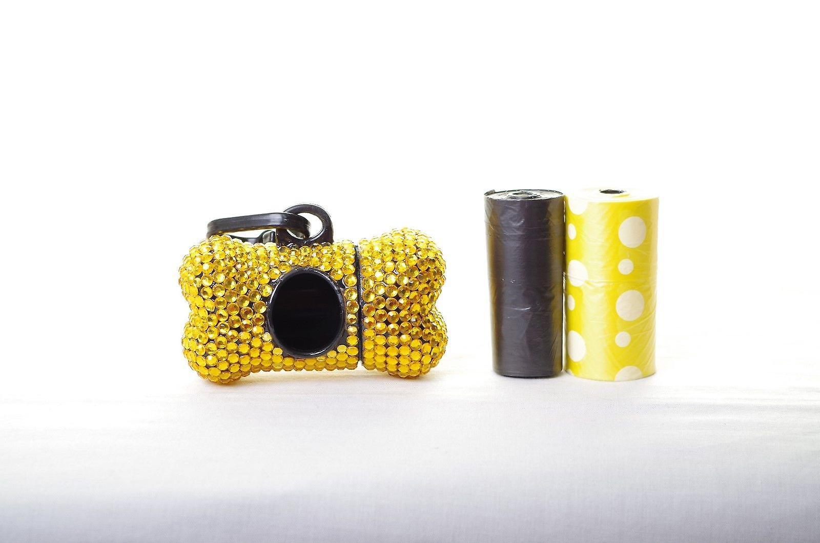 Gold Crystal Rhinestone Bone shaped Waste Bag Dispenser