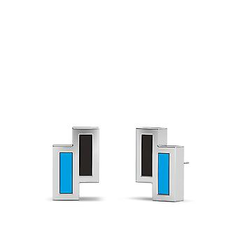 Miami Marlins Sterling Silver Asymmetric Enamel Stud Earrings In Black & Sky Blue