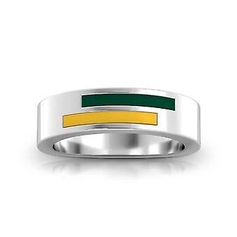 University Of Vermont Sterling Silver Asymmetric Enamel Ring In Green & Yellow