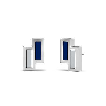 Rice University Sterling Silver Asymmetric Enamel Stud Earrings In Blue and Grey