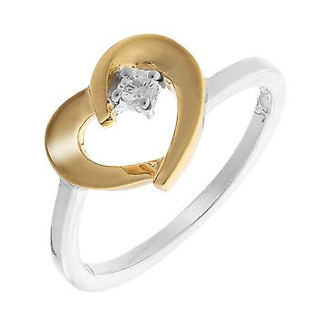 Orphelia Silver 925 pierścień Gold-Color Heart z 1 cyrkonium ZR-7370