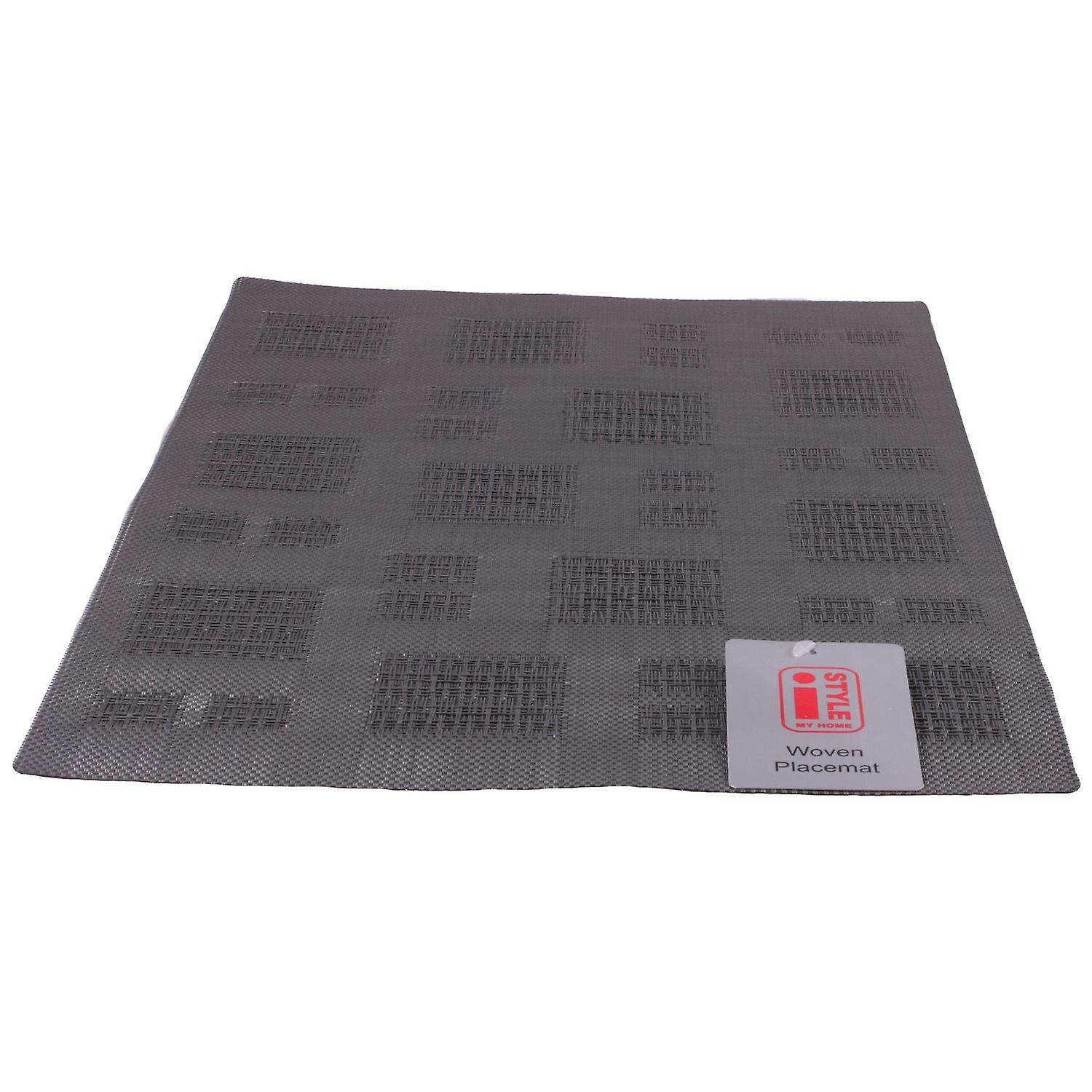 iStyle - Teslin Woven Placemat 30cm x 45cm - Grey Squares