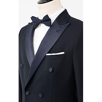 Dobell Herre Navy 2 stykke Tuxedo regelmæssig pasform peak revers dobbelt breasted sorte bukser