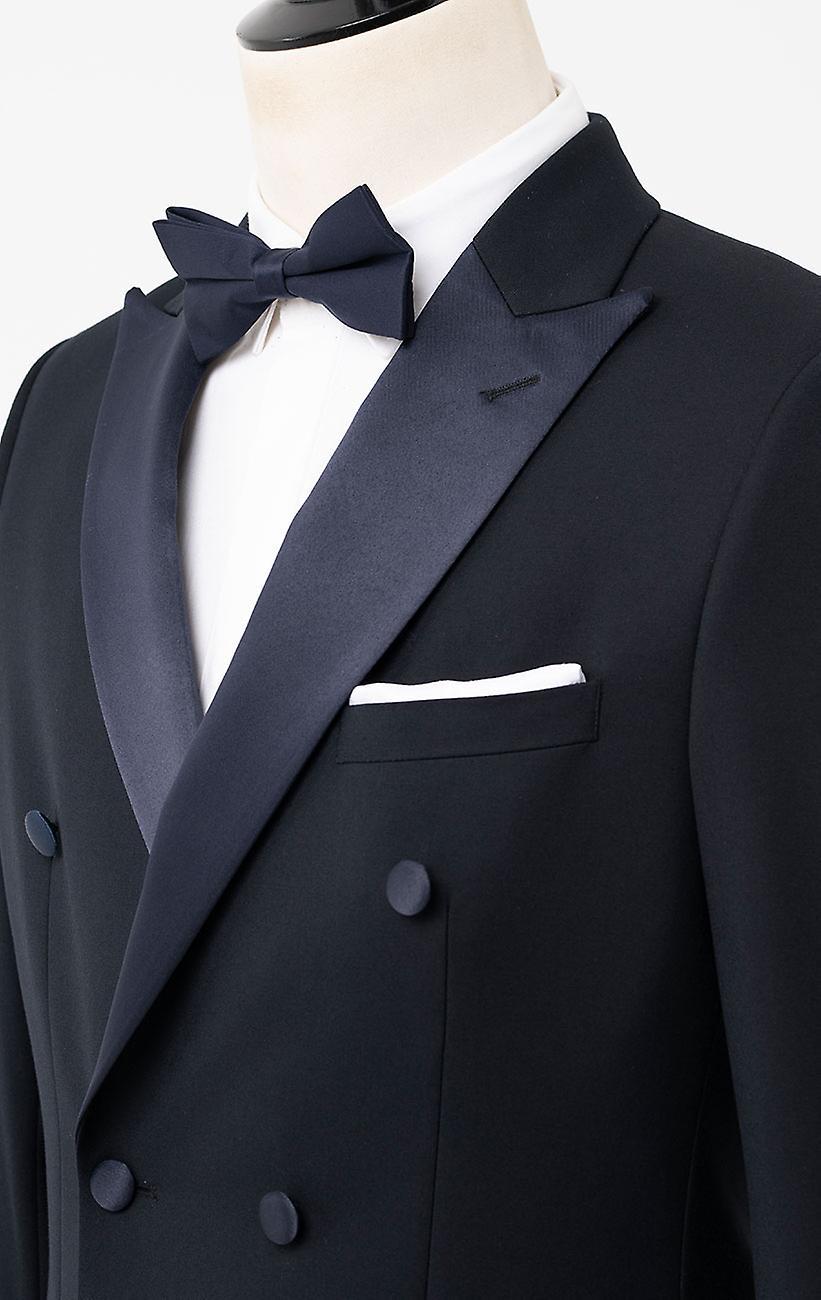 Dobell Mens Navy 2 Piece Tuxedo Regular Fit Peak Lapel Double Breasted Black Trousers