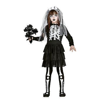 Meisjes skelet bruid Halloween fancy dress kostuum