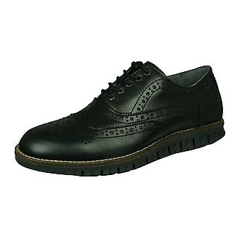 Sledgers Henry Brogue Mens Lace-up Leather Shoes - Black