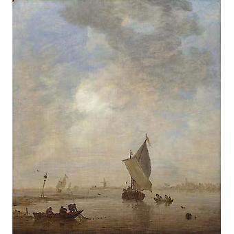 Verkkoa vetävä kalastaja, Jan van Goyen, 50x45cm